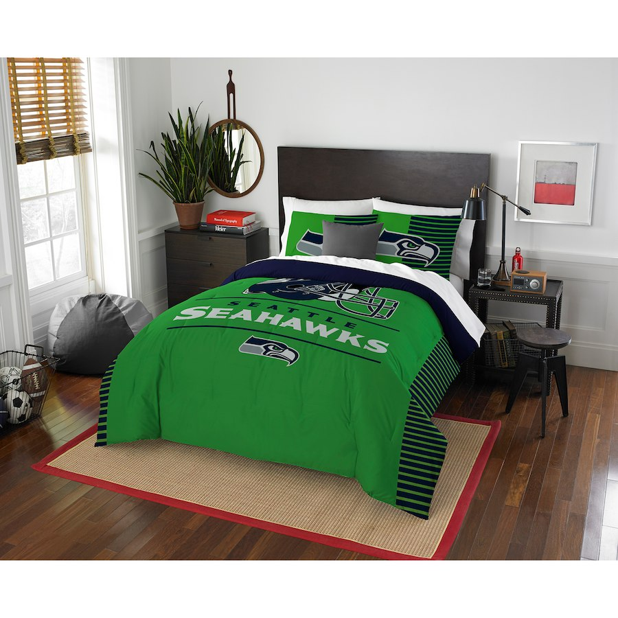 NFL Seattle Seahawks Full / Queen Comforter & Shams Set (3 Piece Bed In A Bag)