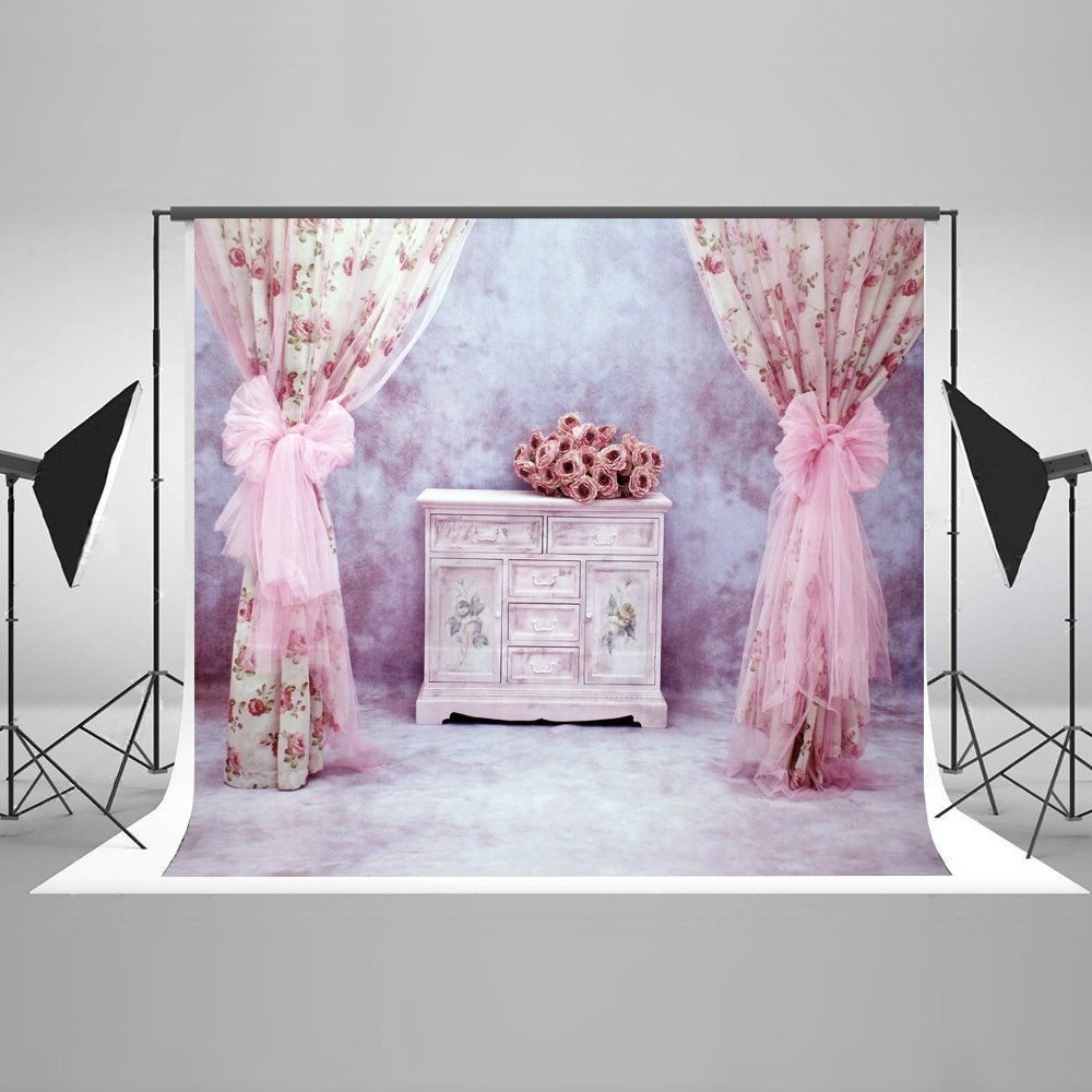 MOHome Polyster 7x5ft Indoor Bedroom Photography Backdrops Pink Curtain Backgrounds for Wedding Backdrop Shooting Photo