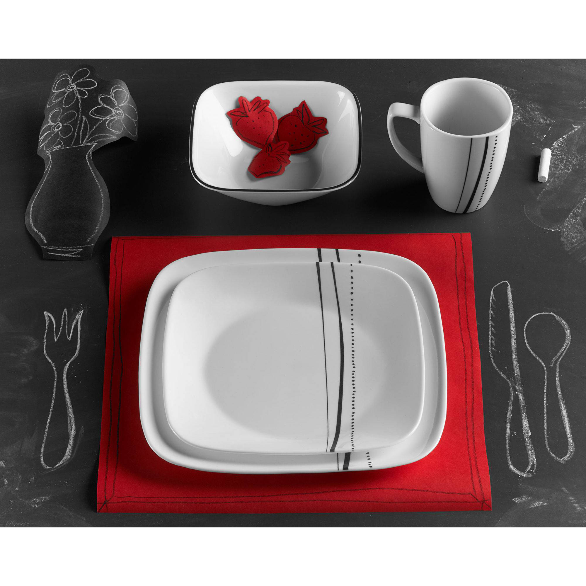 Corelle square 16 pc dinnerware set cascading lines square for Kitchen set plates