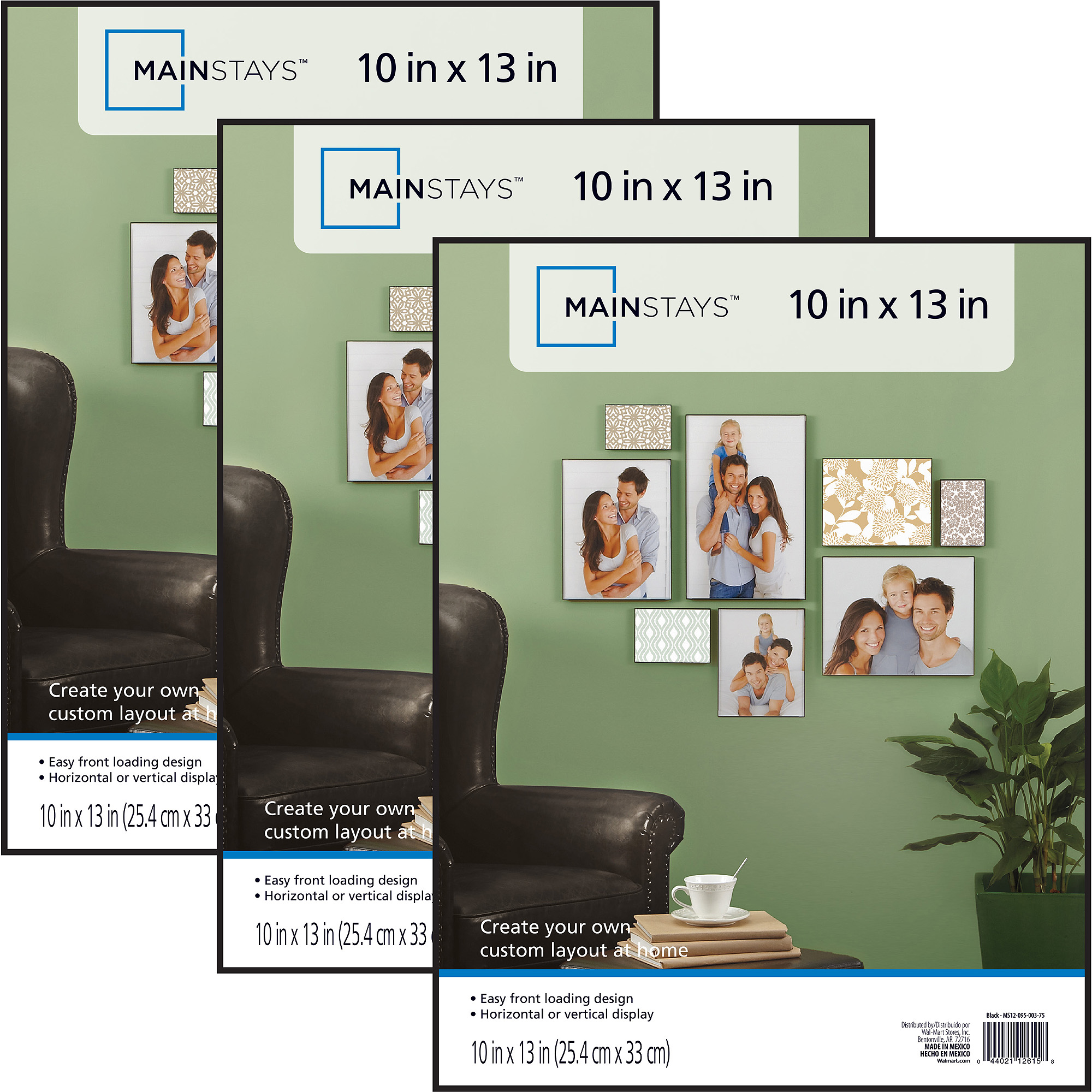 mainstays 10x13 format picture frame set of 3 walmartcom