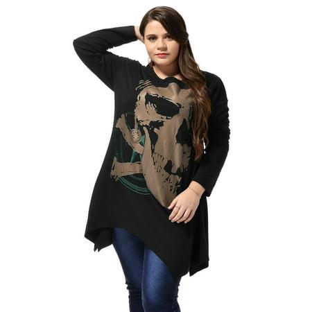 Ladies Long Sleeve Asymmetric Hem Skull Print Plus Size Blouse T-Shirt Black 2X - image 3 of 6