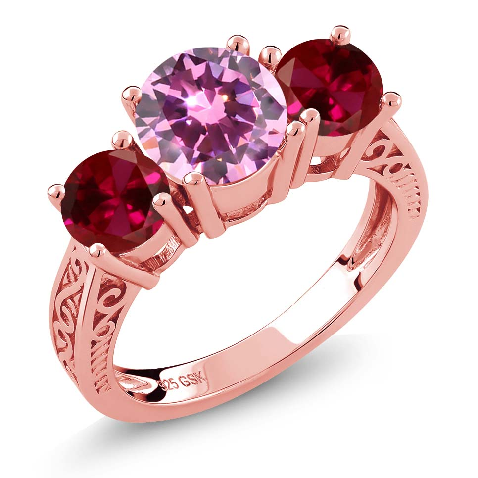 2.48 Ct Pink Zirconia Red Created Ruby 18K Rose Gold Plated Silver 3-Stone Ring by