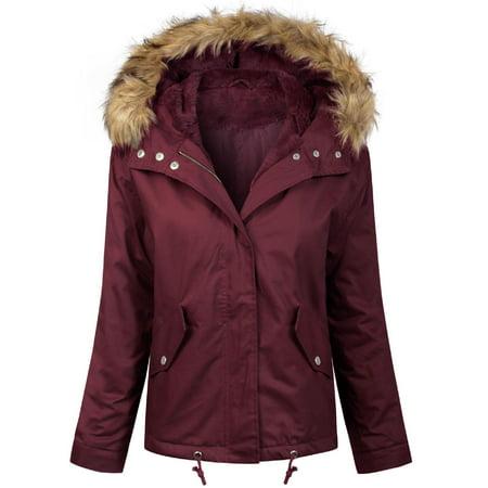 MixMatchy Women's Winter Faux Fur Lined Front Zip Up Short Coat Jacket Wine S Diablo Wind Jacket