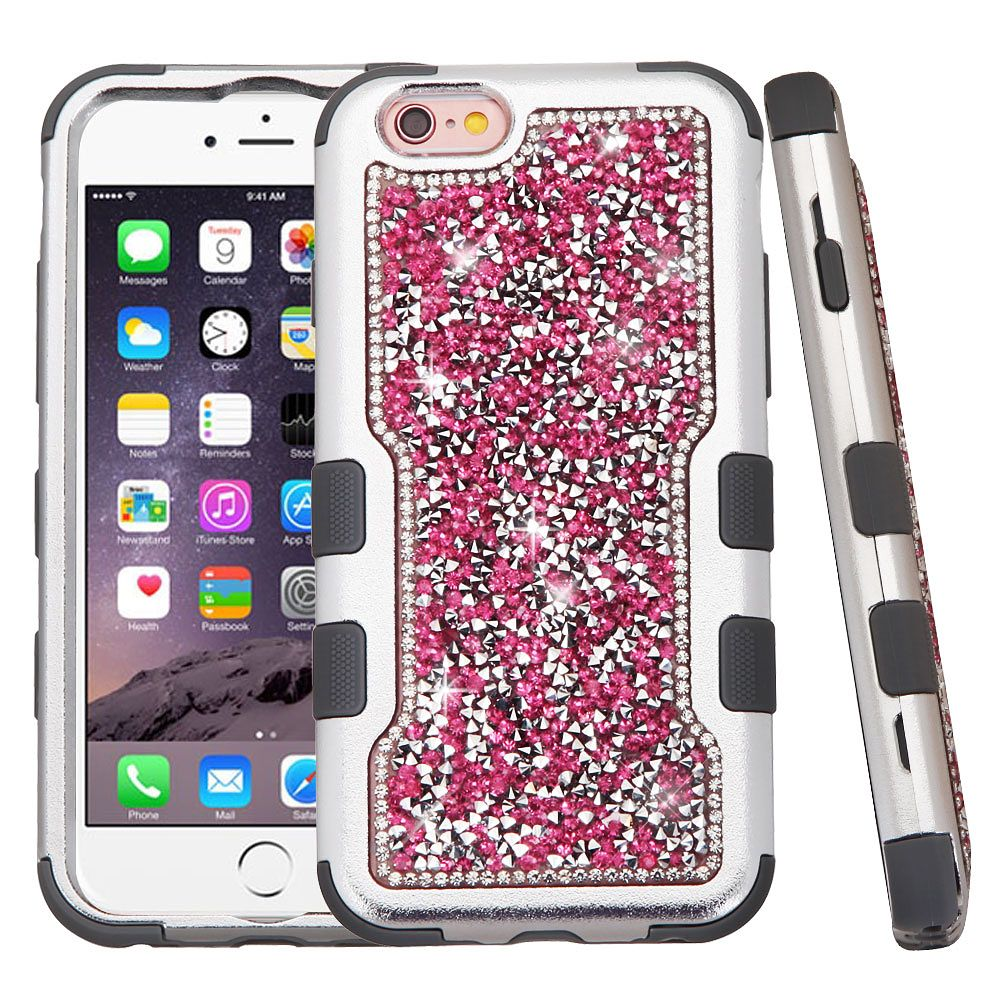 Insten Hard Dual Layer Bling Silicone Case For Apple iPhone 6s Plus / 6 Plus - Hot Pink/Black - image 3 of 3