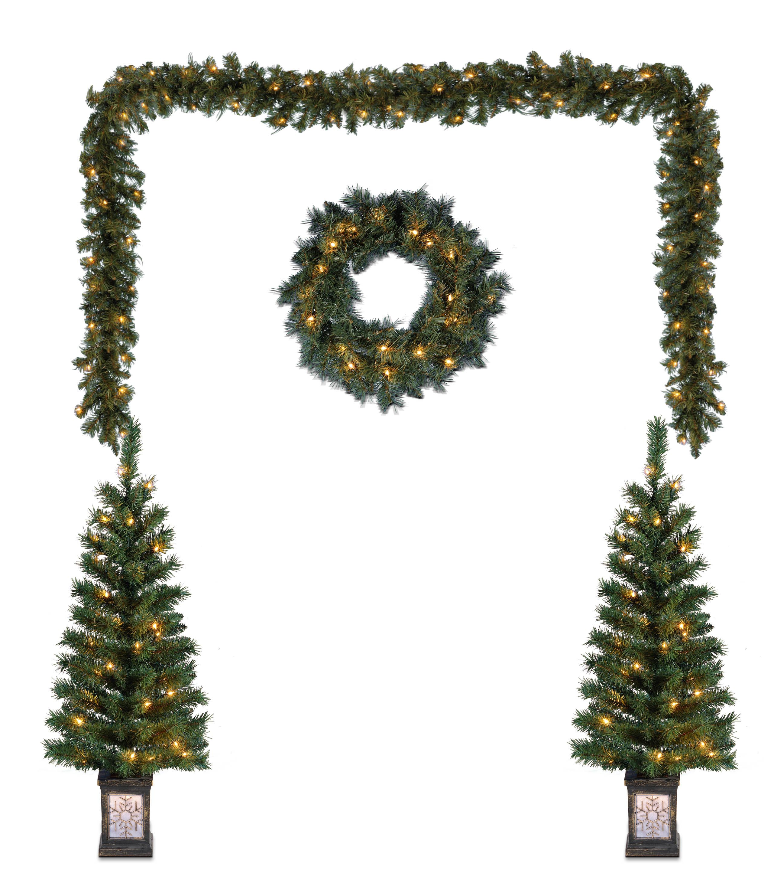 outdoor lighted christmas yard decorations pre lit tree garland wreath 5 pack 1d - Lighted Christmas Tree Yard Decorations