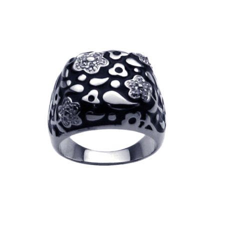 .925 Sterling Silver Rhodium Plated Black Enamel Clear Cubic Zirconia Flower Ring