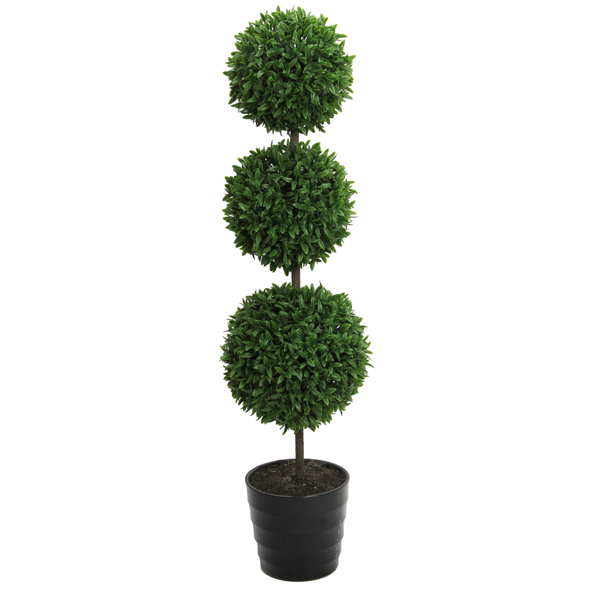 "Admired By Nature 24"" Tall Artificial Tabletop English Boxwood Triple Ball Shaped Topiary Plant in Plastic Pot, Green"