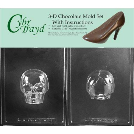 Cybrtrayd H167AB Medium 3D Skull Chocolate Candy Mold with 2 Molds and Exclusive Cybrtrayd Copyrighted 3D Chocolate Molding Instructions (Sugar Skull Molds)