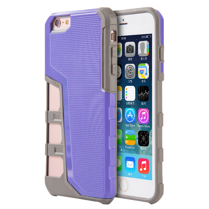 Phone Case for iPhone 6/6S Hyper Sport Dual Hybrid Case With Gray Tpu + Purple Pc Back Plate
