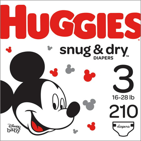 HUGGIES Snug & Dry Diapers, Size 3, 210 Count (Huggies Little Movers Diaper Pants Size 4)