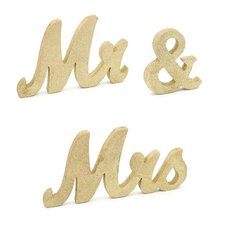 Wedding Reception Decor (Ella Celebration Mr and Mrs Table Sign for Wedding, Gold Wooden Letters Decor, Glitter Photo Props, Reception Dinner Event Decorations)