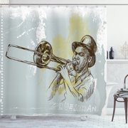 Best Shower Cd Players - Jazz Music Shower Curtain, Trumpet Player Illustration Rock Review