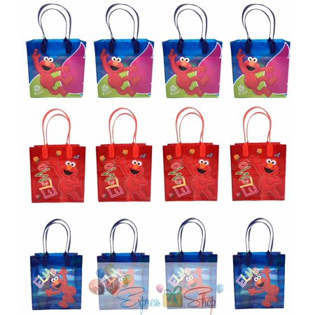 Sesame Street Buckets (Sesame Street Elmo 12 Authentic Licensed Party Favor Reusable Medium Goodie Gift Bags)