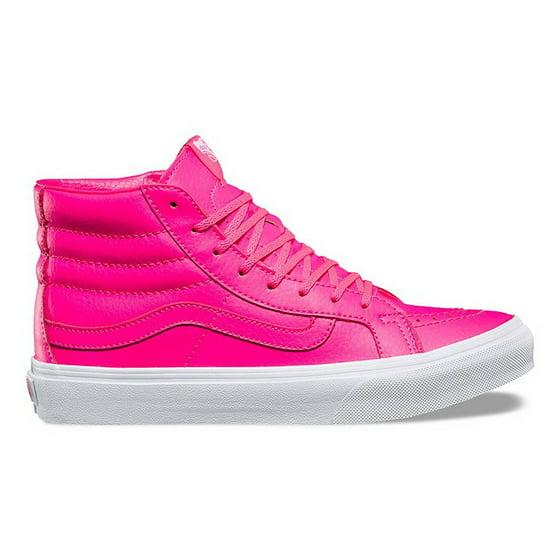 34432d3735d171 Vans Sk8-Hi Slim Neon Leather Pink High-Top Skateboarding Shoe - 7M ...