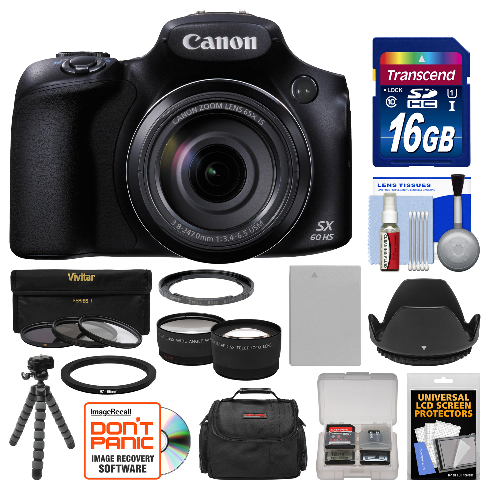 Canon PowerShot SX60 HS Wi-Fi Digital Camera with 16GB Ca...
