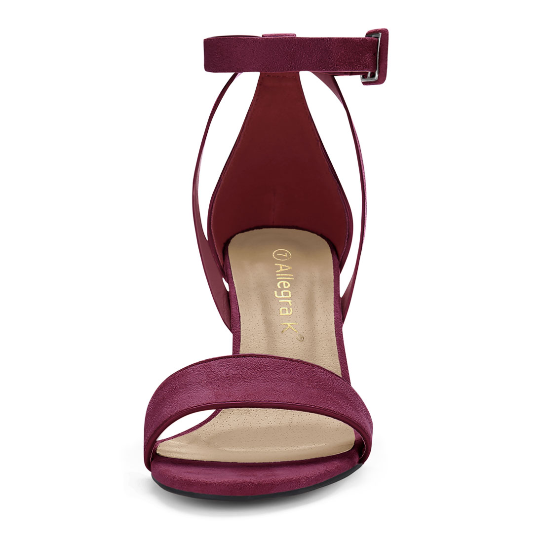 467b7f97c12 HJ284-5 Women PU Panel Piped Chunky Heel Ankle Strap Sandals Burgundy US 5.5
