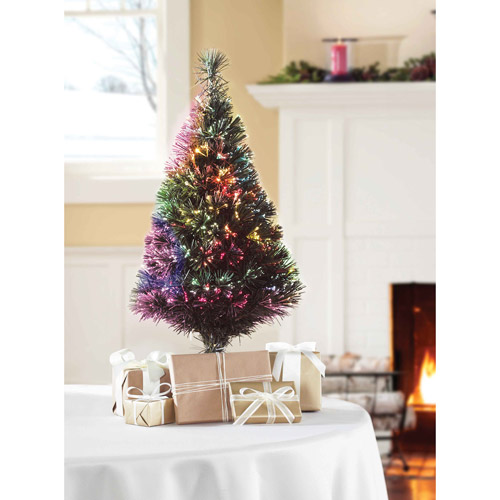 Holiday Time Pre-Lit 2.5' Fiber Optic Green Artificial Christmas Tree, Clear Lights