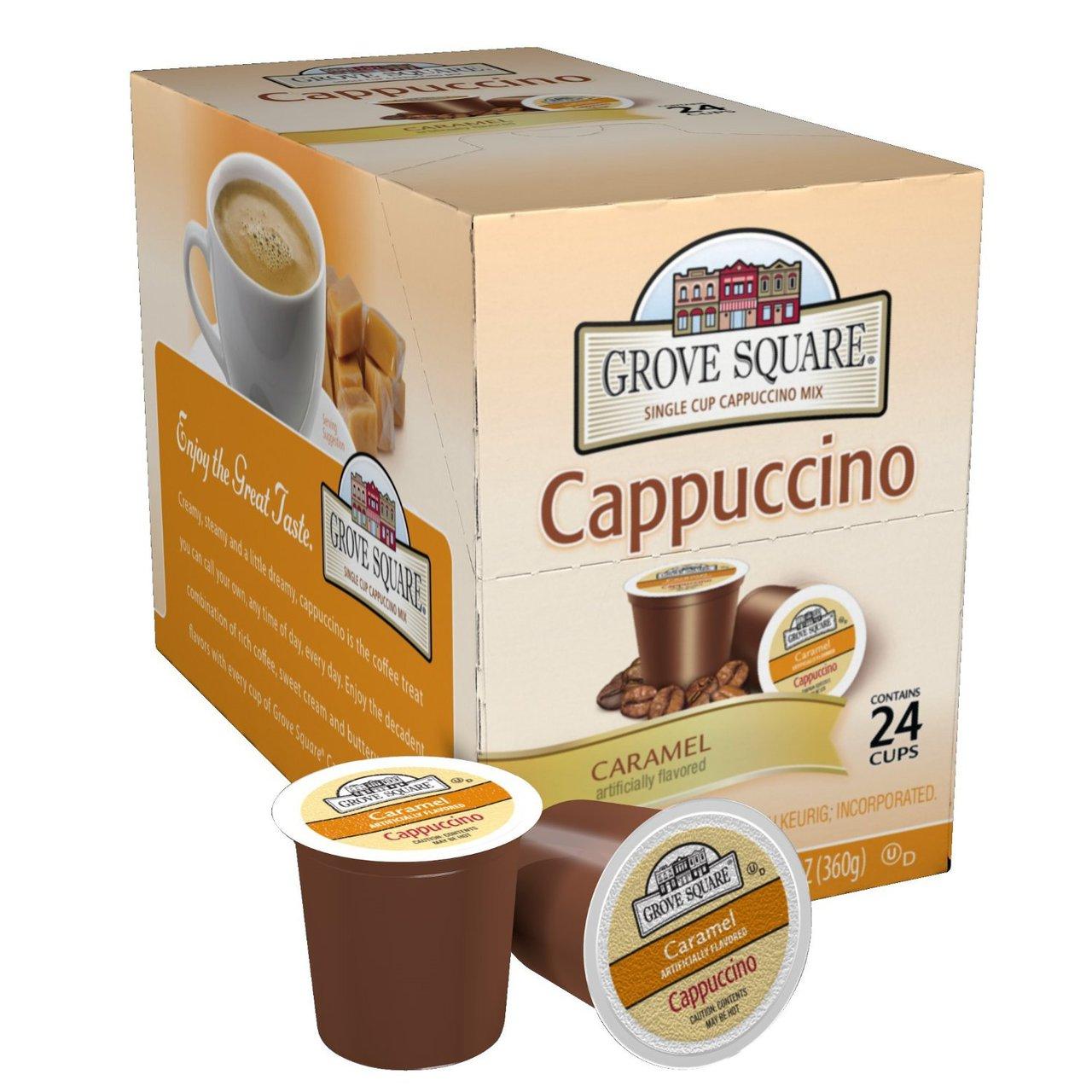 4 PACKS : Grove Square Cappuccino, Caramel, 24 Single Serve Cups