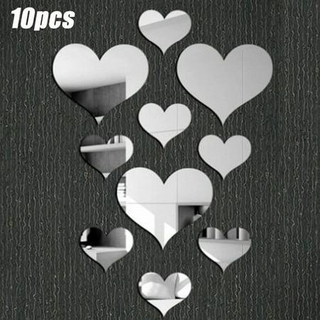 3d Diy Love Heart Shape Mirror Mural Decal Wall Stickers Bedroom Art Decoration Walmart Canada
