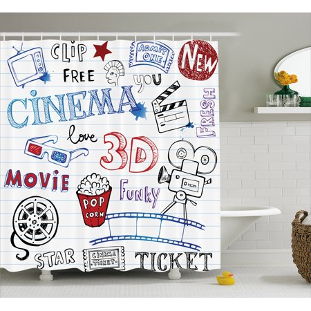 Hollywood Hook (Movie Theater Shower Curtain, Various Hand Drawn Icons on a Notebook Page Style Backdrop Hollywood Fun, Fabric Bathroom Set with Hooks, Multicolor, by)