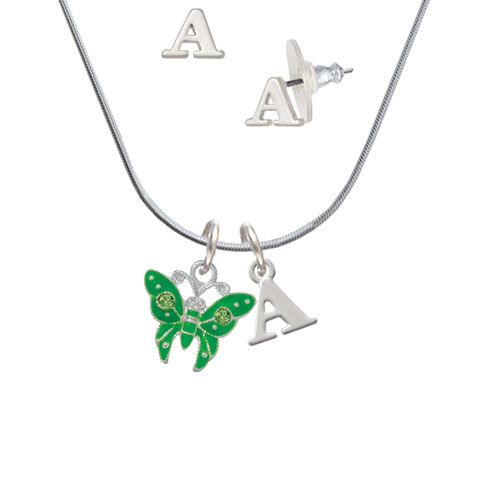 Lime Green Butterfly with 2 Lime Green Crystals - A Initial Charm Necklace and Stud Earrings Jewelry Set