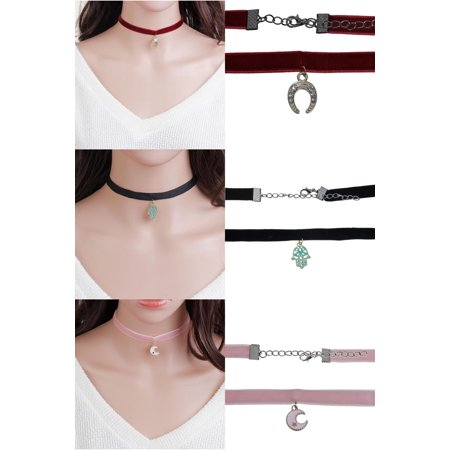 - Sexy Sparkles Set of 3 Velvet Choker Necklace for Women Girls Gothic Choker Bolo Tie Corset Lace Chokers