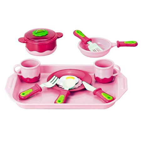 Breakfast Cookware Playset for Kids Cook and Serve Breakfast Play-set for Kids with Pink Tray, Kitchen Cookware, Pots and Pans, Egg Play Food Serve Kitchen Set