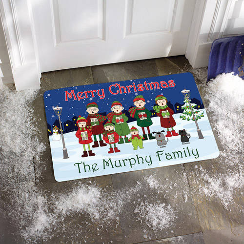 Personalized Caroler Family Doormat