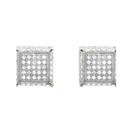 10K White Gold Square Cube Dice Diamond 9MM Stud Earrings 0.75ct.