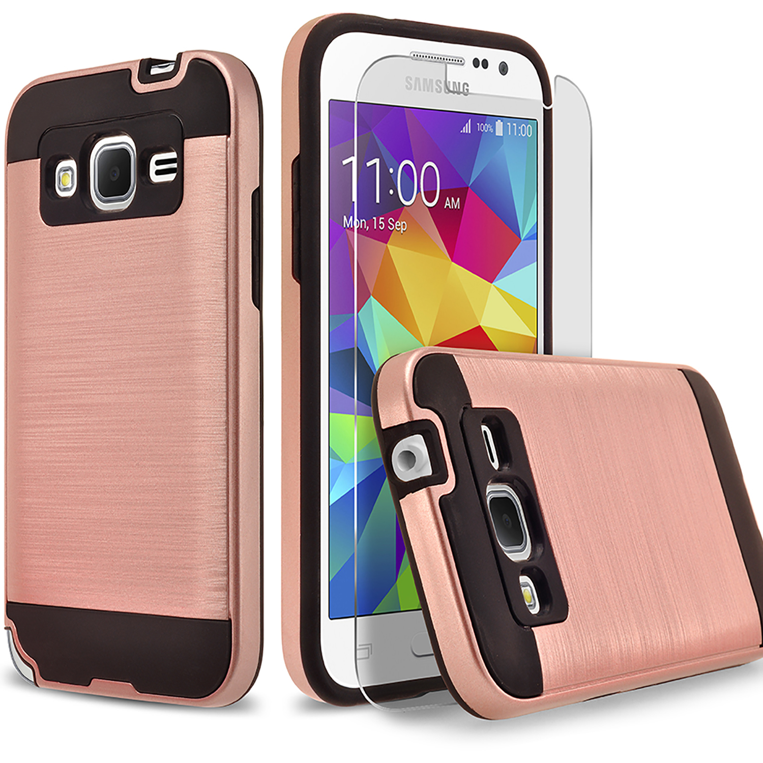 Galaxy J1 Case, 2-Piece Style Hybrid Shockproof Hard Case Cover with [Premium Screen Protector] Hybird Shockproof And Circlemalls Stylus Pen (Rose Gold)