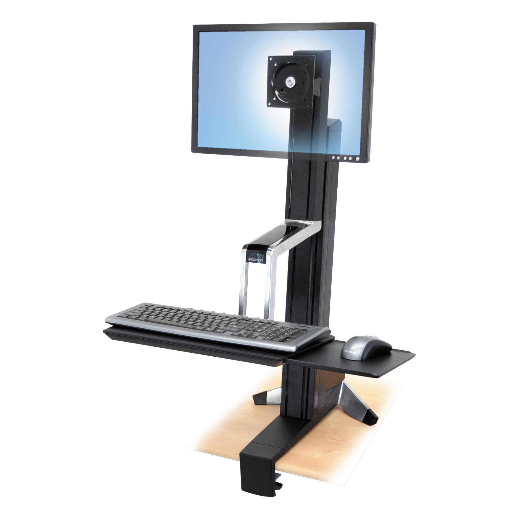 Ergotron WorkFit-S Sit-Stand Workstation without Worksurface, LCD LD, Aluminum/Black