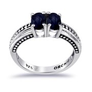 Beautiful 1.24 CTW Oval Sapphire Gemstone 925 Sterling Silver Stracking Ring For Women By Orchid Jewelry