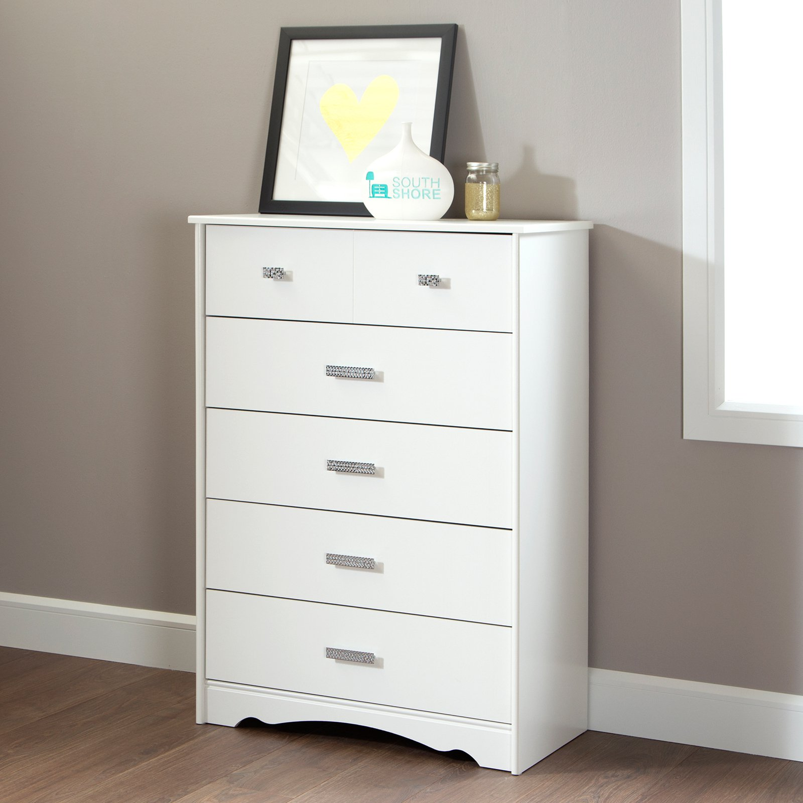 South Shore Tiara 5-Drawer Chest, White