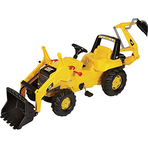 rolly toys CAT Construction Pedal Tractor: Backhoe Loader (Front Loader and Excavator Digger), Youth Ages 3+ by