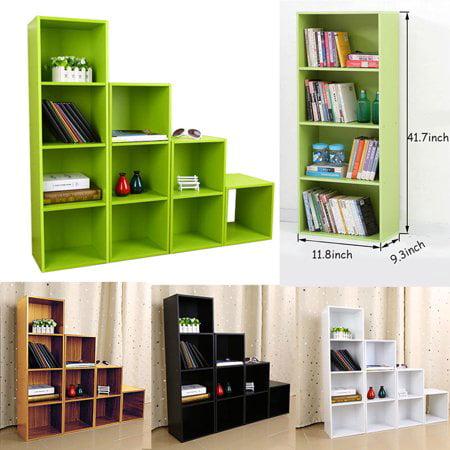 Ymiko 3/4 Shelf Bookcase Storage Bookshelf Wood Furniture Adjustable Book Shelving (White Bookcase Bookshelf)