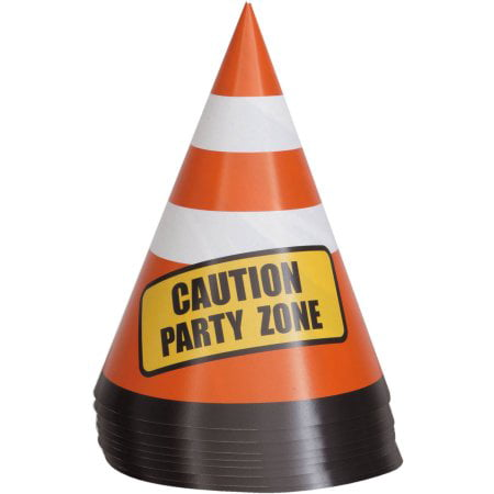 (4 Pack) Construction Party Cone Hats - Black Birthday Party Hats