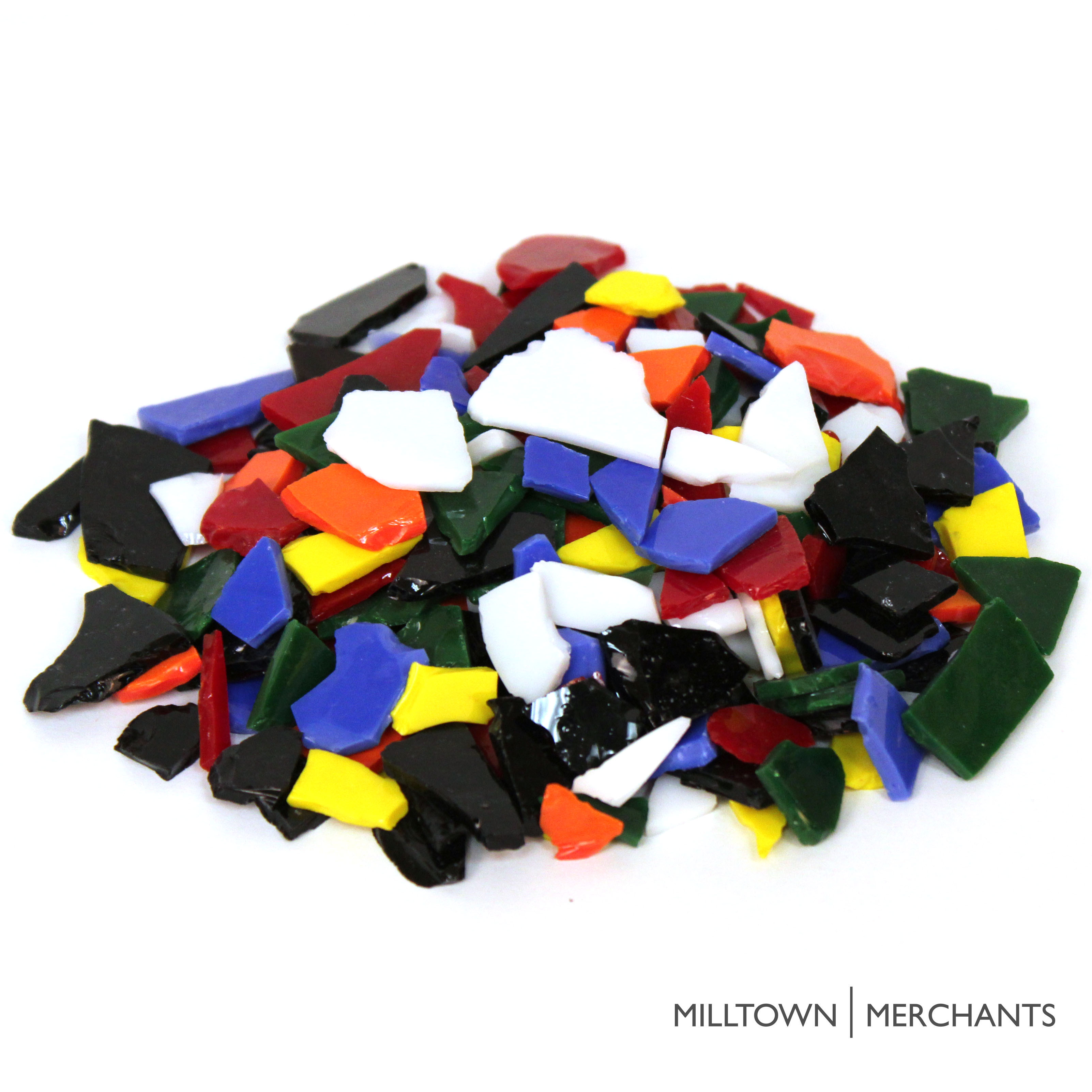 Milltown Merchants Stained Glass Pieces - Opaque and Transparent Stained Glass Cobbles - Broken Glass Chips for Stepping Stones and Crafts - Bright Color Glass Coblets