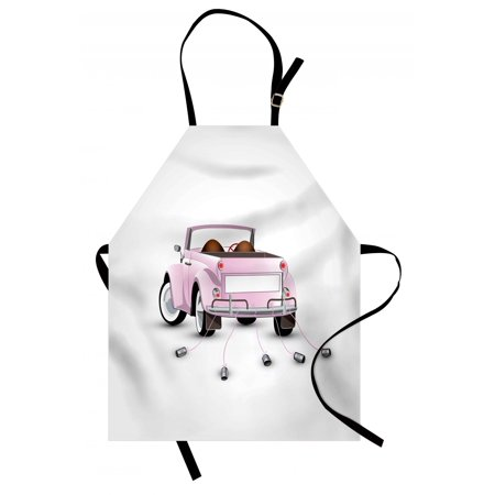 Cars Apron Just Married Themed Open Roof Top Car Love for Bride and Groom Picture Wedding Print, Unisex Kitchen Bib Apron with Adjustable Neck for Cooking Baking Gardening, Pink White, - Themes For Weddings