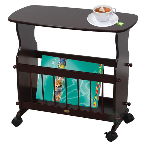 Uniquewise Wooden Magazine Rack Table with Rolling Casters by Uniquewise