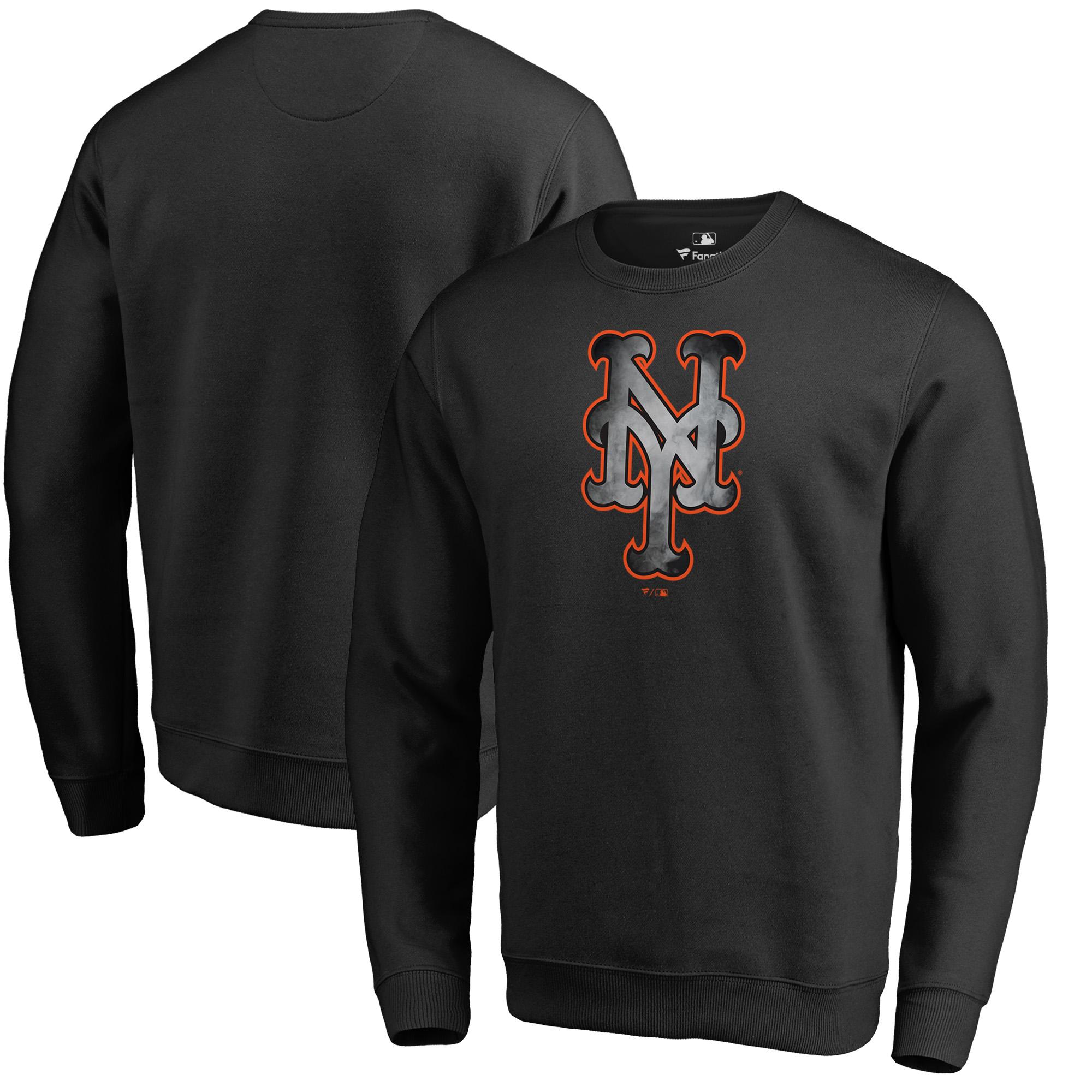 New York Mets Fanatics Branded Core Smoke Fleece Sweatshirt - Black