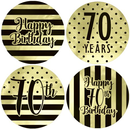 Gold Foil 70th Birthday Favor Labels 40ct - Black and Gold Stripe and Polka Dot Birthday Party Supplies - 40 Count Stickers (1 3/4 inch)