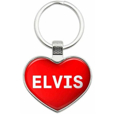 Elvis - Names Male Metal Heart Keychain Key Chain Ring, Multiple Colors Available