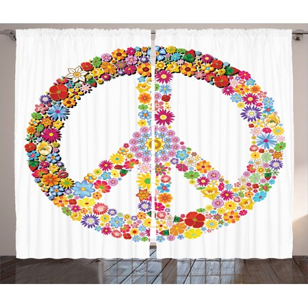 Groovy Decorations Curtains 2 Panels Set, Floral Peace Sign Summer Spring Blooms Love Happiness Themed Illustration Print, Living Room Bedroom Accessories, By Ambesonne (Peace Decorations)