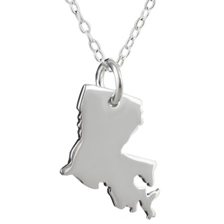 Sterling Silver US Louisiana State Charm Necklace, 18