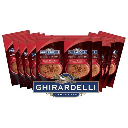 Ghirardelli Chocolate Premium Hot Cocoa, Double Chocolate, 0.85-Ounce Packets (Pack of 10) 12 (Ghirardelli Vanilla Hot Chocolate)