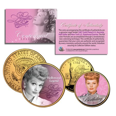 LUCILLE BALL 100th Birthday NY Quarter & JFK Half Dollar 2-Coin Set I LOVE LUCY