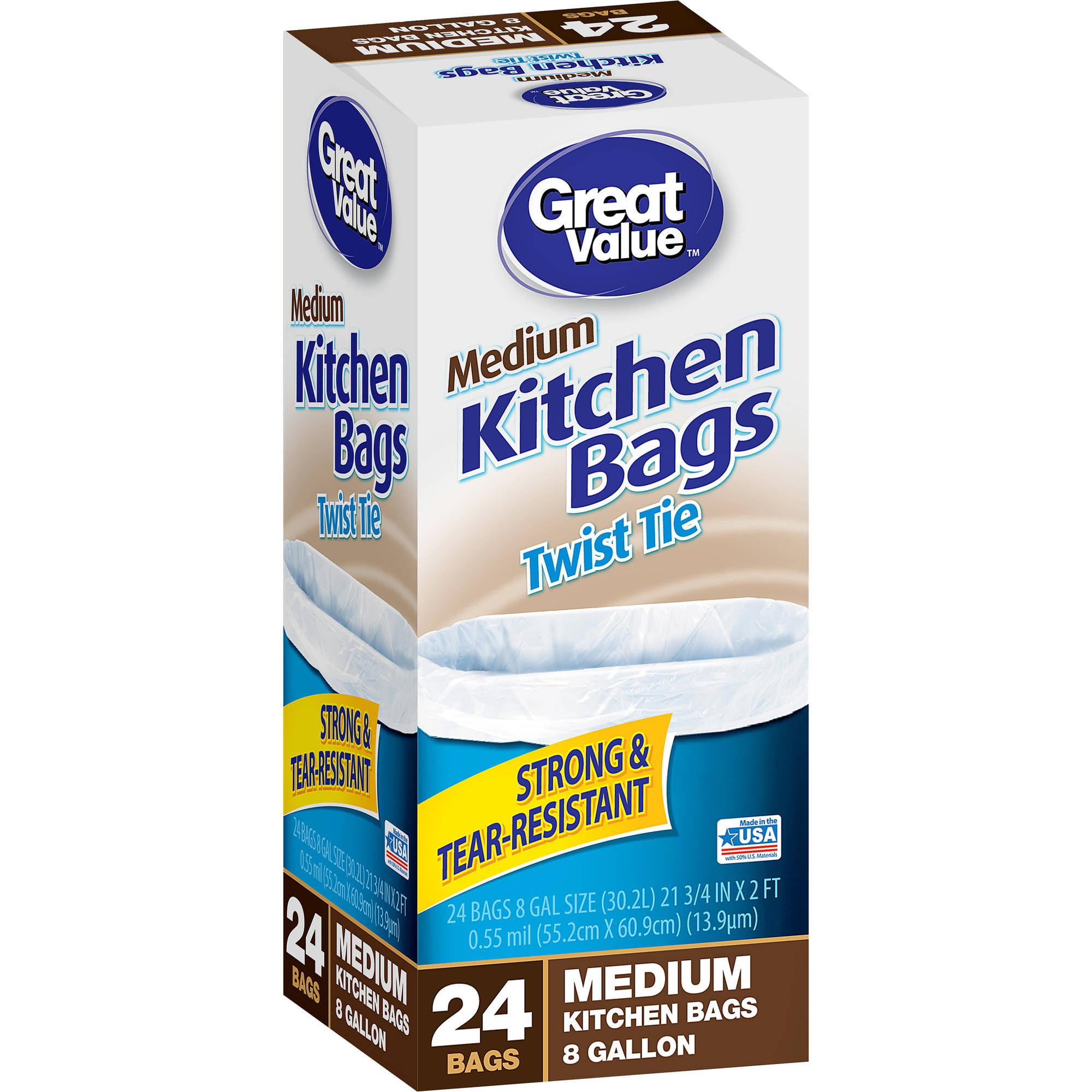 Great Value Twist Tie Medium Kitchen Bags, 8 gal, 24 count