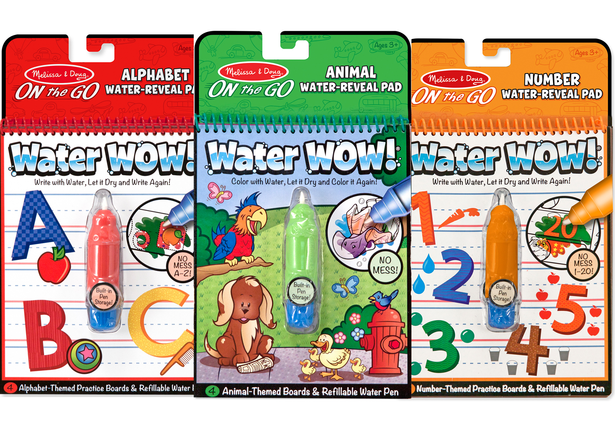 Melissa & Doug On the Go Water Wow! Activity Book, 3-Pack - Animals ...