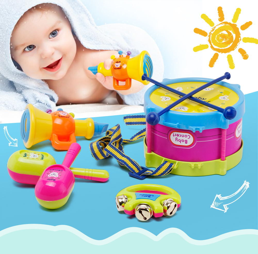 Baby Concert Toys 5PC New Roll Drum Musical Instruments Band Kit Unisex Colorful Educational Learning and Development Toys Gift for Toddler Infant Newborn Children Kids Boys Girls