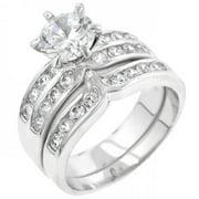 Icon Bijoux R07524R-C01-07 Formal Silvertone Engagement Set (Size: 07)